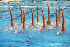 Synchronized swimmers. Synchronized swimming. Synchronized swimmers legs movement Royalty Free Stock Images