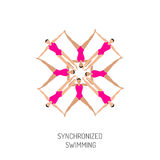 Synchronized swimming banner royalty free illustration