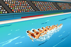 Synchronized swimming competition. A vector illustration of swimmers in synchronized swimming in action for sport competition series Stock Photography