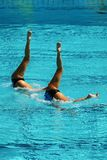 Synchronized swimming duet during competition. Synchronized swimming duet during  competition Royalty Free Stock Photo