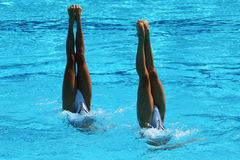 Synchronized swimming duet during competition Royalty Free Stock Photos