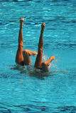 Synchronized swimming duet during competition Royalty Free Stock Images
