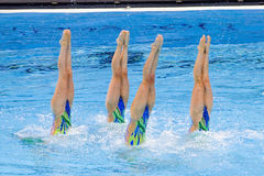 Synchronized swimming - Great Britain. British team performs at Synchronized swimming Free Routine Final of 15th FINA World Championships, on July 26, 2013, in Royalty Free Stock Photo