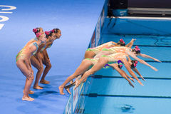 Synchronized swimming - Kazakhstan. Kazakh team performs at Synchronized swimming Free Routine Final of 15th FINA World Championships, on July 26, 2013, in Royalty Free Stock Images