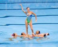 Synchronized swimming - Kazakhstan. Kazakh team performs at Synchronized swimming Free Routine Final of 15th FINA World Championships, on July 26, 2013, in Royalty Free Stock Photo
