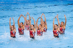 Synchronized swimming - Mexico. Mexican team performs at Synchronized swimming Free Routine Final of 15th FINA World Championships, on July 26, 2013, in Stock Photo