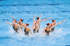 Synchronized swimming - Russia. Russian team performs at Synchronized swimming Free Routine Final of 15th FINA World Championships, on July 26, 2013, in Royalty Free Stock Photos