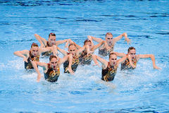 Synchronized swimming - Russia. Russian team performs at Synchronized swimming Free Routine Final of 15th FINA World Championships, on July 26, 2013, in Royalty Free Stock Image