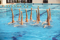 Synchronized swimming. Synchronized swimmers legs movement Royalty Free Stock Image