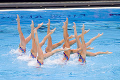 Synchronized swimming - Ukraine. Ukrainian team performs at Synchronized swimming Free Routine Final of 15th FINA World Championships, on July 26, 2013, in Royalty Free Stock Images