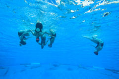 Synchronized Team Swimming Girls Royalty Free Stock Photos