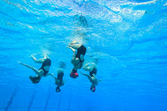 Synchronized Team Swimming Girls Stock Images