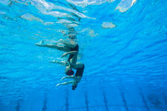 Synchronized Team Swimming Girls Royalty Free Stock Images