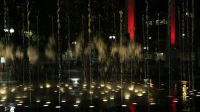 Synchronized water fountain in the public park stock footage