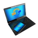 Synchronizing. Illustration of synchronizing of data between laptop and phone Royalty Free Stock Photo