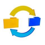 Synchronizing. Illustration of synchronizing of data between two folders Stock Photos