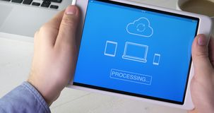 Synchronizing file on all devices using digital tablet. Stock footage stock footage