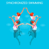 Synchronizujący Pływacki lato gier ikony set 3D pływaczki Isometric drużyna Wodny taniec Pływa Sportową międzynarodową konkurencj Fotografia Royalty Free
