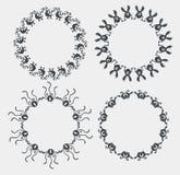 Synchronous wheels monsters, bacteria, virus evolution arranged Royalty Free Stock Photos