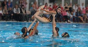 Synchronschwimmenausstellung 004 Lizenzfreie Stockfotos