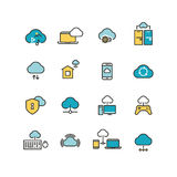Syncing computer, cloud computing network, big data analysis, internet security line vector icons Royalty Free Stock Photos