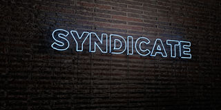 SYNDICATE -Realistic Neon Sign on Brick Wall background - 3D rendered royalty free stock image Stock Photos
