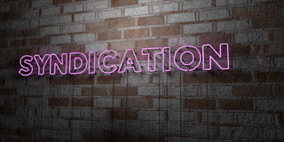 SYNDICATION - Glowing Neon Sign on stonework wall - 3D rendered royalty free stock illustration Royalty Free Stock Photography