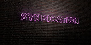 SYNDICATION -Realistic Neon Sign on Brick Wall background - 3D rendered royalty free stock image Stock Images