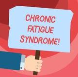 Syndrom för trötthet för ordhandstiltext kronisk Affärsidé för att försvaga oordning som beskrivas av extrem trötthet Hu vektor illustrationer