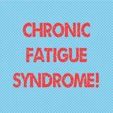 Syndrom för trötthet för ordhandstiltext kronisk Affärsidé för att försvaga oordning som beskrivas av sömlös polka för extrem trö stock illustrationer