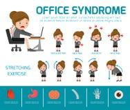 Syndrome de bureau Concept de soins de santé Élément d'Infographic conception plate de bande dessinée de femme d'icônes de vecteu Photo libre de droits