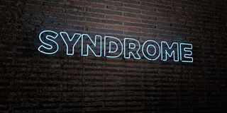 SYNDROME -Realistic Neon Sign on Brick Wall background - 3D rendered royalty free stock image Stock Images