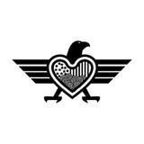 Syndykatów orły i serca ikona, abstrakcjonistyczny orzeł Ilustracja w wektorowym formacie royalty ilustracja
