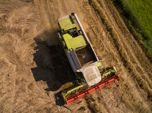 Syndykata żniwiarz - widok z lotu ptaka nowożytny syndykata żniwiarz przy zbierać banatki na złotym pszenicznym polu w lecie Fotografia Royalty Free