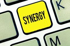 Synergi för handskrifttexthandstil Menande växelverkansamarbete för begrepp mellan organisationsteamworksamarbete arkivbilder
