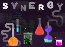 Synergie comme illustration de concept de réaction chimique Conception plate de vecteur de style illustration libre de droits