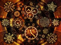 Synergies of Chronology. Circles of Time series. Background design of clock symbols and fractal elements on the subject of science, education and prediction stock illustration