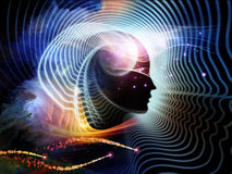 Synergies of Human Mind. Composition of human feature lines and symbolic elements suitable as a backdrop for the projects on human mind, consciousness Stock Image