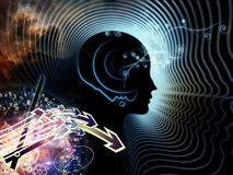 Synergies of Human Mind. Composition of human feature lines and symbolic elements suitable as a backdrop for the projects on human mind, consciousness Stock Images