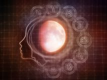 Synergies of the Moon. Inner Moon series. Composition of moon, human profile and design elements on the subject of spirit world, dreams, imagination, astrology Royalty Free Stock Image