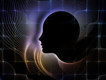 Synergies of Soul Geometry. Geometry of Soul series. Interplay of profile lines of human head on the subject of education, science, technology and graphic design Stock Photos