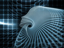 Synergies of Soul Geometry. Geometry of Soul series. Interplay of profile lines of human head on the subject of education, science, technology and graphic design Stock Photography