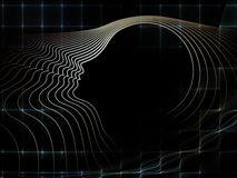 Synergies of Soul Geometry. Geometry of Soul series. Interplay of profile lines of human head on the subject of education, science, technology and graphic design Royalty Free Stock Image