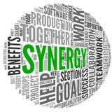 Synergismeconcept in de wolk van de woordmarkering Royalty-vrije Stock Afbeeldingen