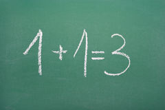 Synergistic calculation: 1+1=3 Stock Photo