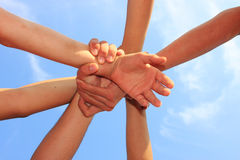 Synergy. Symbol of teamwork, as a background Stock Images