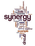 Synergy. And teamwork related terms in a wordcloud vector illustration