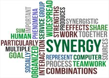 SYNERGY. A word cloud of Synergy related items Royalty Free Stock Photo