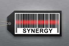 Synergy barcode. With stainless steel background Stock Photos