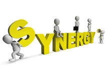 Synergy Characters Shows Teamwork Collaboration Team Work Stock Photo